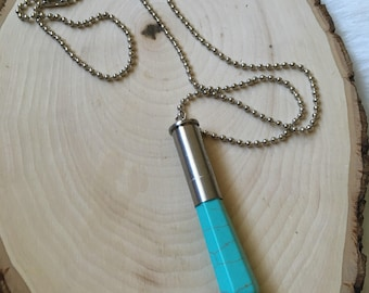 SALE. Upcycled Bullet Case and Turquoise Necklace. Silver Color. Ball Chain.