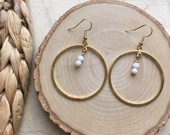 Gold Plated And Beaded Hoop Earrings. Minimalist. Simple. Lightweight