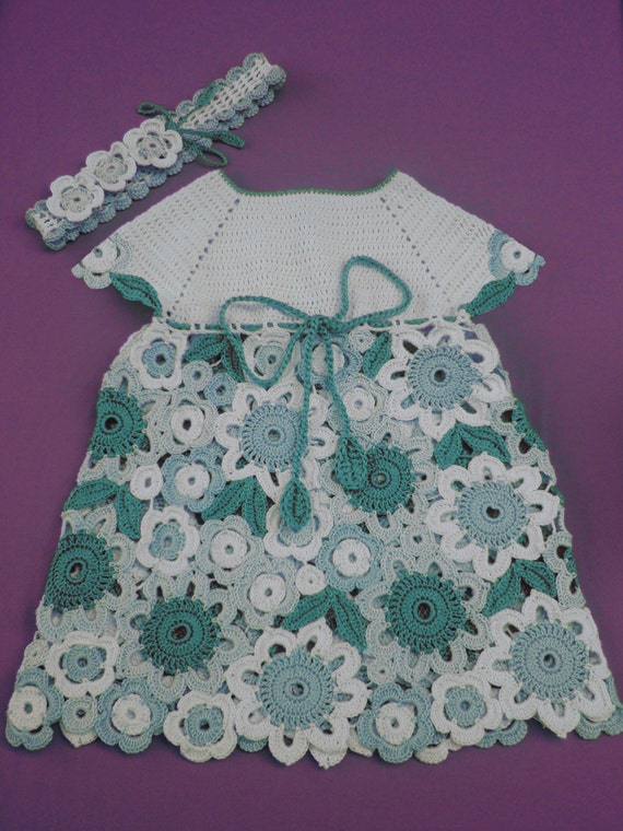 Flower Dress Irish Lace Crochet Pattern Size 1 Year Old And Etsy