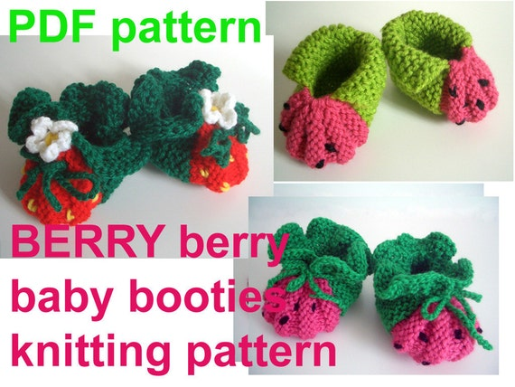 Berry Watermelon Baby Booties Knitting Pattern For True Etsy