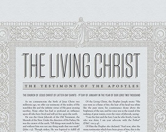 The Living Christ  / New / Modern / Design / Letterpress Poster / Illustrated Border