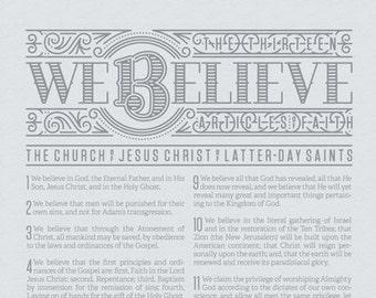 Articles of Faith / We Believe / New / Modern / Design / Letterpress Poster