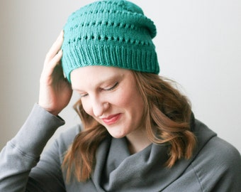 Slouchy beanie, emerald green merino wool knit hat -- Ledge Harbour slouch