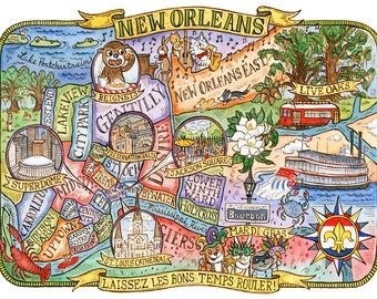 "Map of New Orleans Louisiana Art Print 16""x20"""