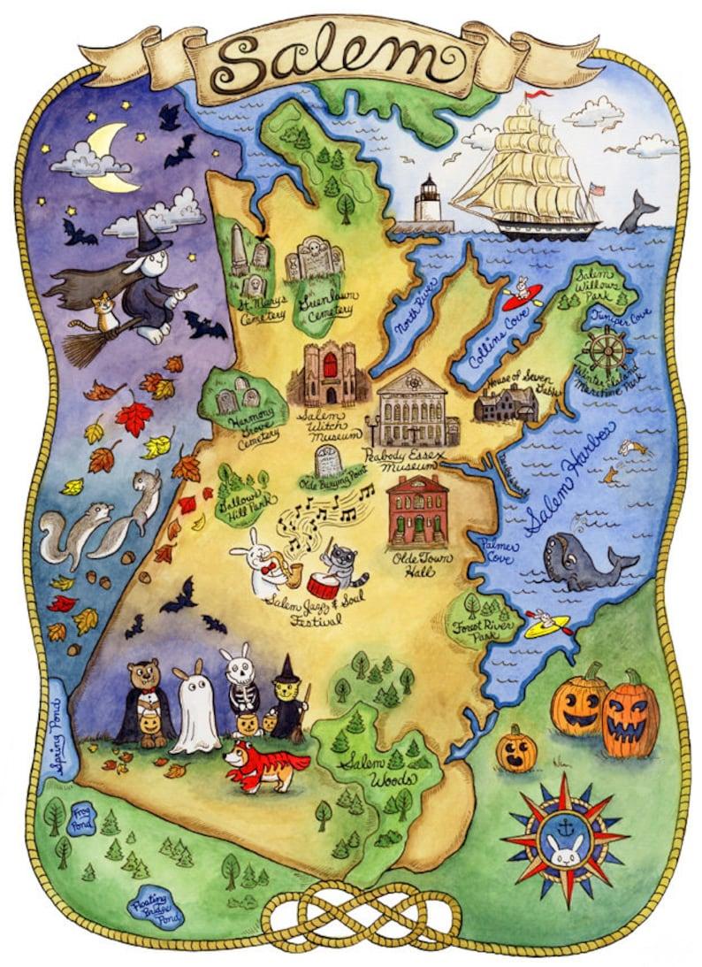 Map Of Salem Massachusetts Map of Salem Massachusetts Art Print 8 x 10 | Etsy