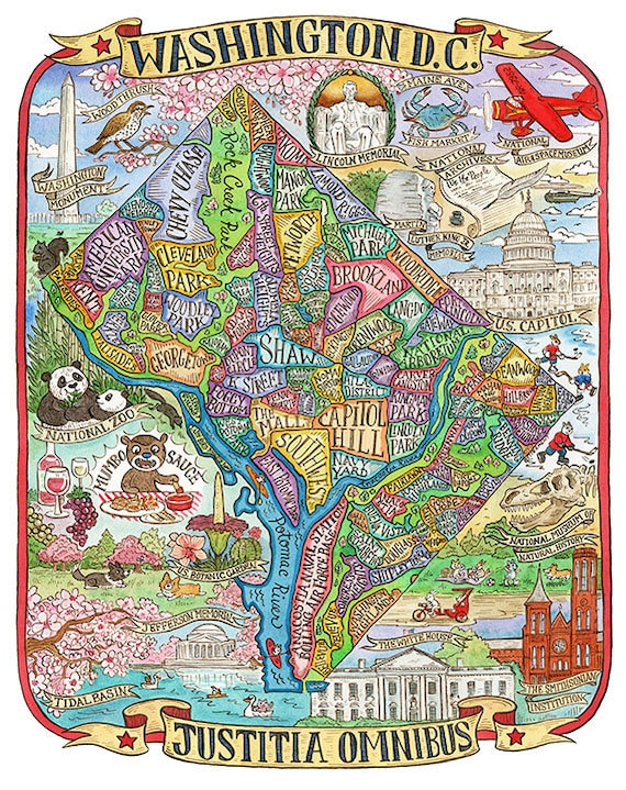 Washington DC Neighborhood Map Art Print 16x20 | Etsy