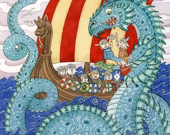 "The Saga Viking Ship Sea Dragon Art Print 8"" x 10"""
