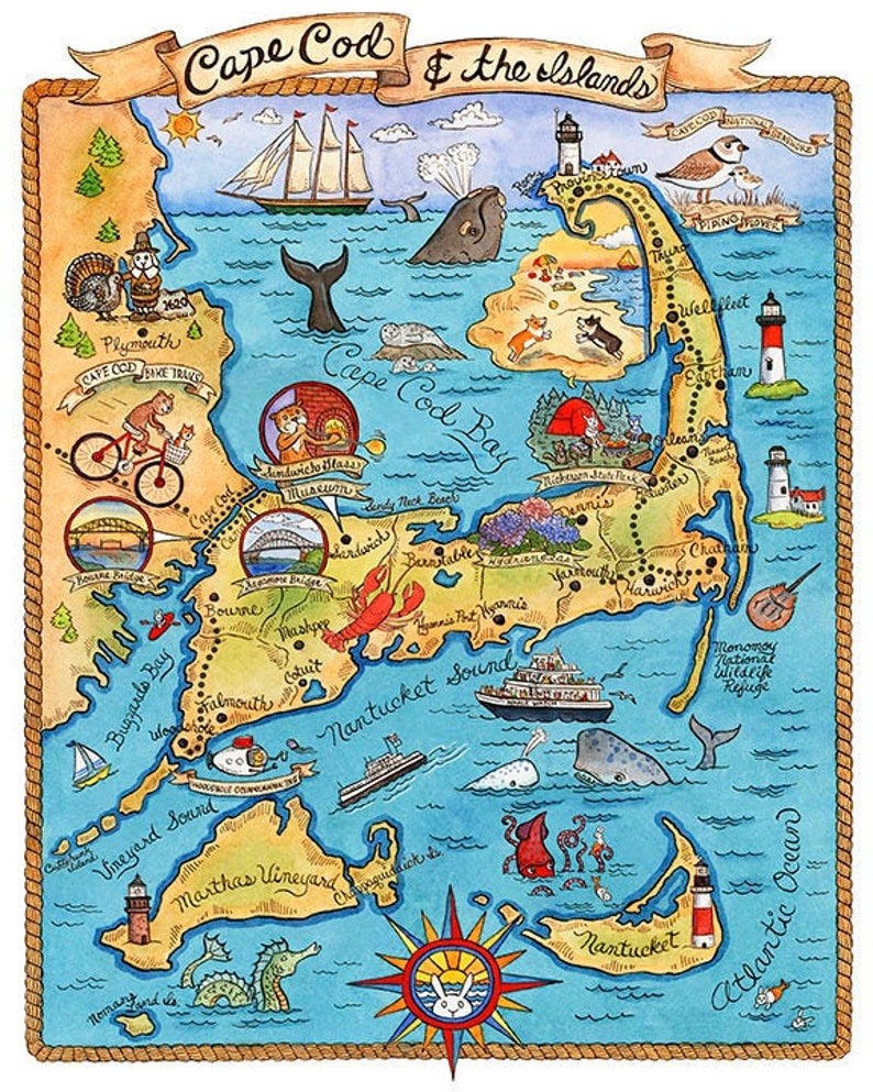 photo about Printable Map of Cape Cod identified as Map of Cape Cod Artwork Print 11\