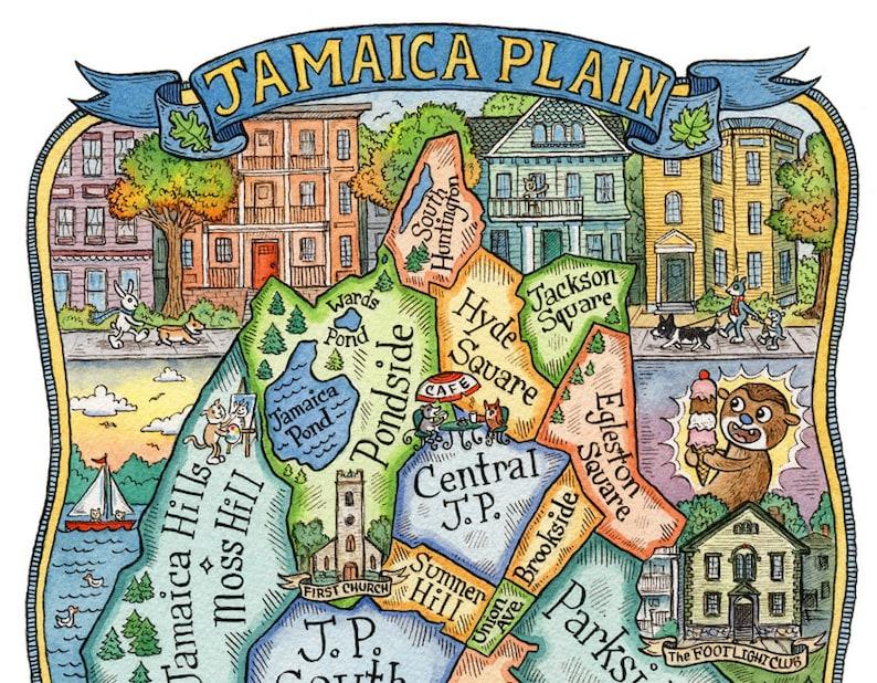 Jamaica Plain Boston Map.Jamaica Plain Boston Neighborhood Map Art Print 11 X Etsy