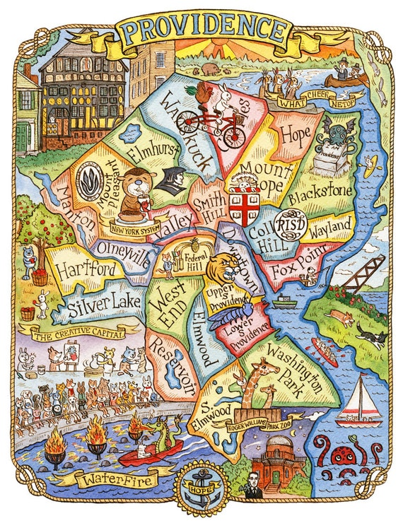 Providence Rhode Island Art Map 8 x 10 | Etsy