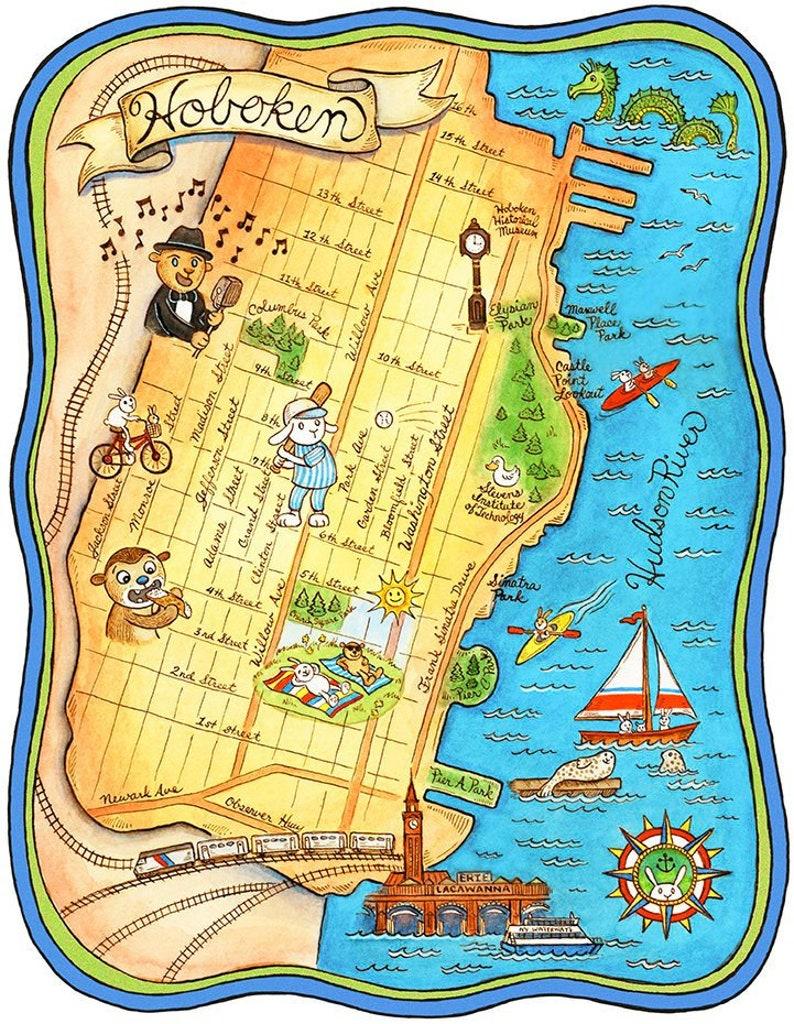 Hoboken New Jersey Map Art Print 8 x 10   Etsy
