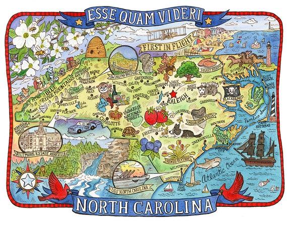 North Carolina State Map 16x20 | Etsy