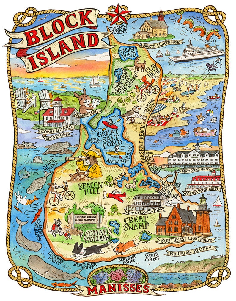 Block Island Rhode Island Map Art Print 11x 14 | Etsy