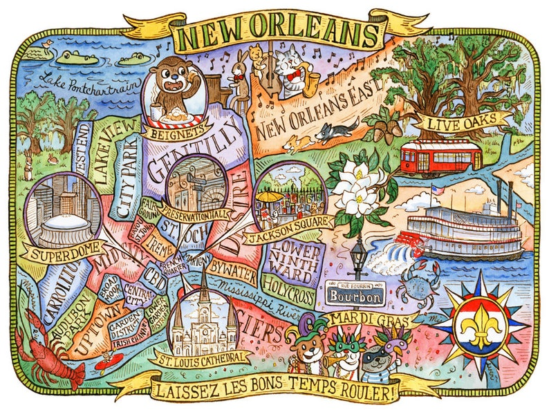 Map Of New Orleans Louisiana Art Print 16x20 Etsy