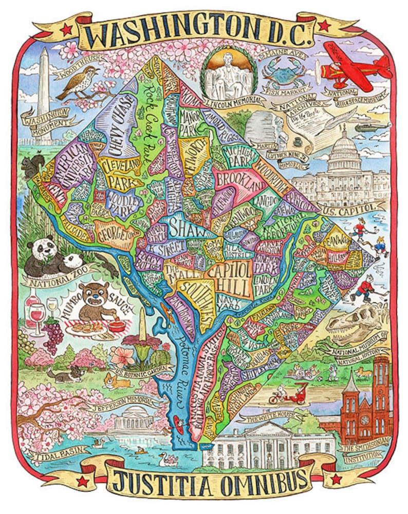 Washington DC Neighborhood Map Art Print 11x14   Etsy