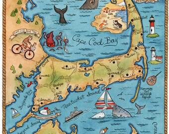 """Map of Cape Cod Art Print 11"""" x14"""""""