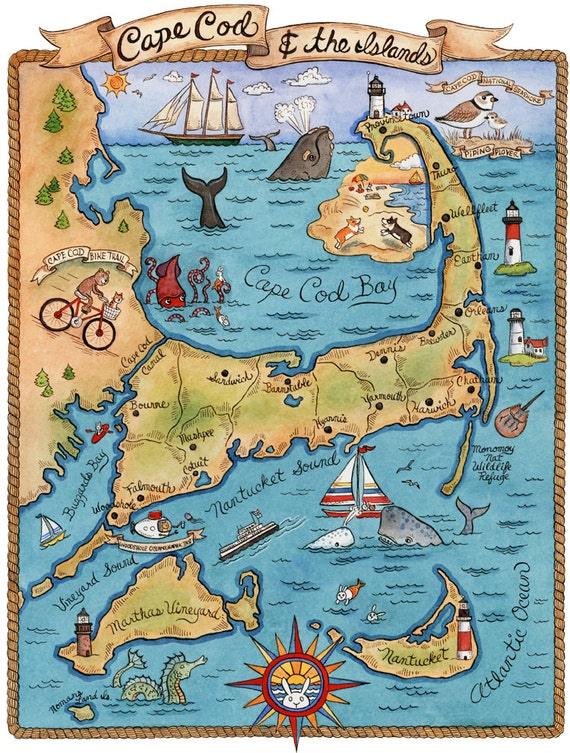 Vibrant image for printable map of cape cod