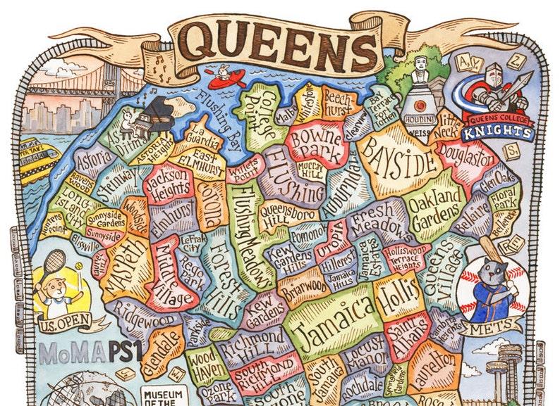 Queens New York Map Art Print 8 X 10