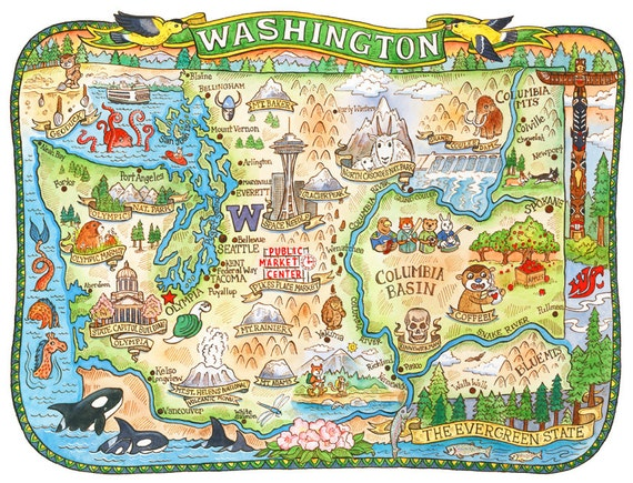 Washington State Map 8x10 Art Print | Etsy
