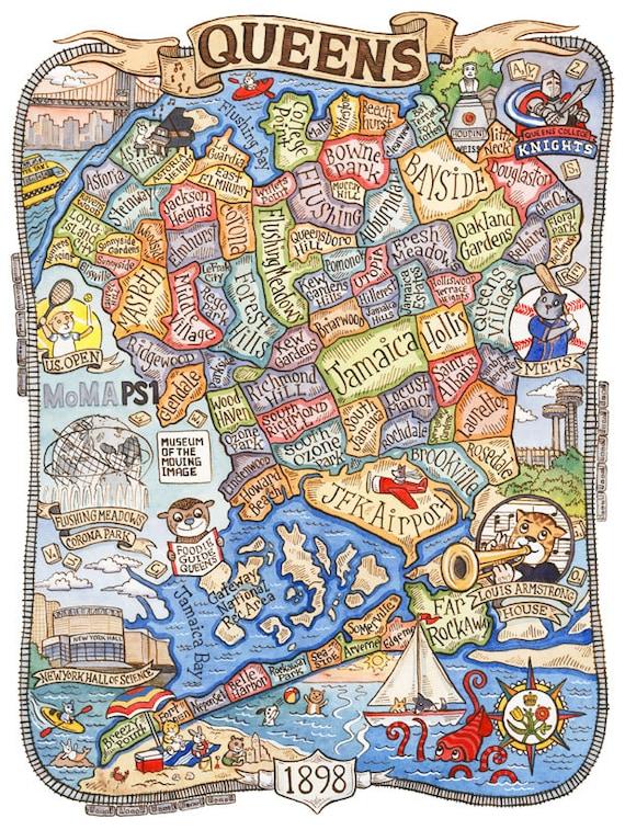 Queens New York Map Art Print 11 x 14 | Etsy