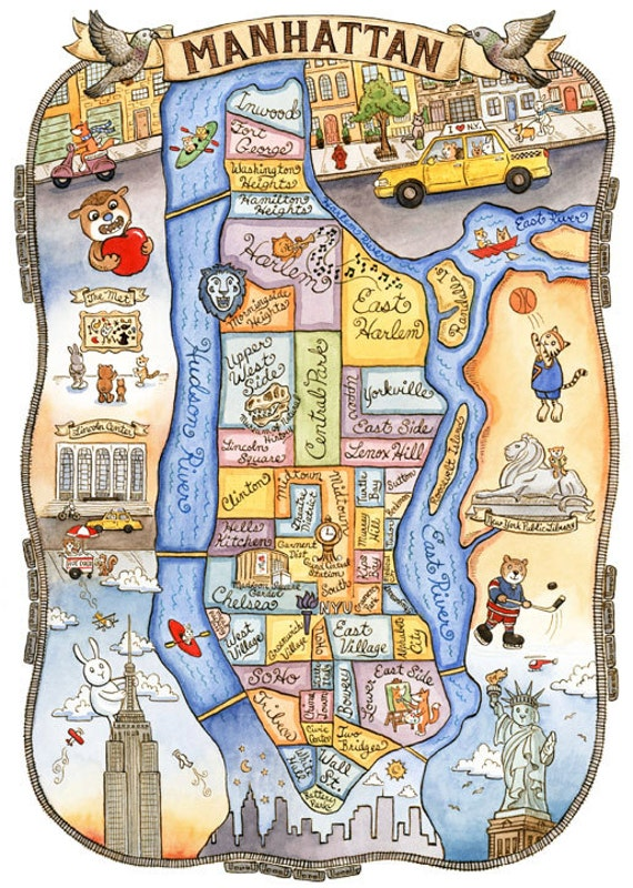 New York City Map Manhattan Art Print 16