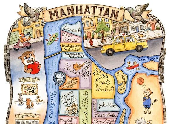 Cartoon Map Of New York City.Manhattan New York City Map Art Print 8 X 10 Etsy