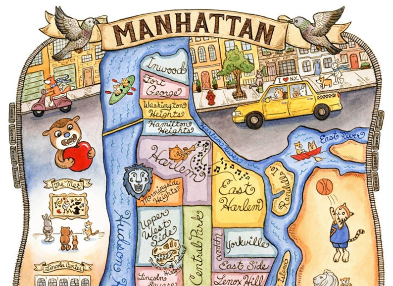 photo relating to Printable Map of Manhattan named Manhattan Fresh York Metropolis Map Artwork Print 8\