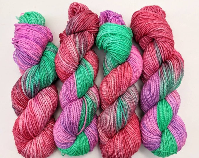 Pink Mint Christmas - Hand-dyed DK Yarn
