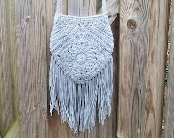 Fringed Crochet Boho Bag