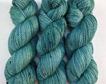 Teal - Hand-dyed Aran Weight Tweed Yarn
