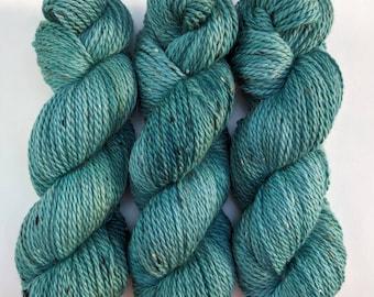 Teal - Hand-dyed Aran Weight Tweed Yarn