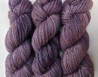 Purple - Hand-dyed Aran Weight Tweed Yarn