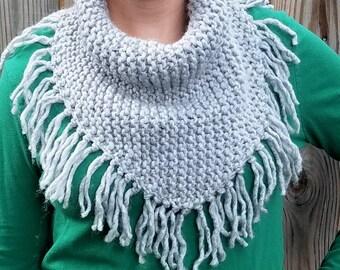 Bulky Fringed Bandana Cowl - PDF knitting pattern