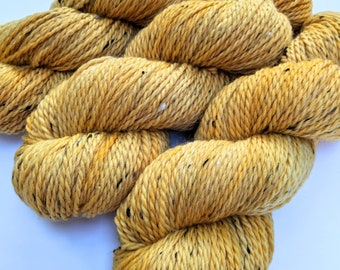Yellow - Hand-dyed Aran Weight Tweed Yarn