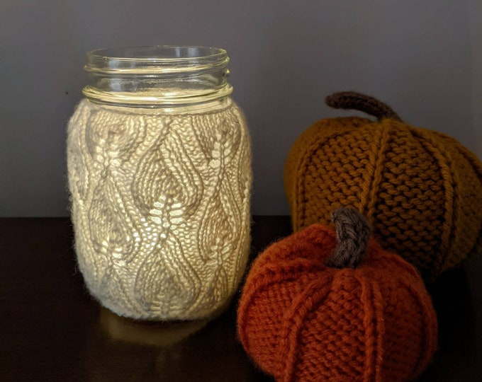 Knit Lace Jar Cover