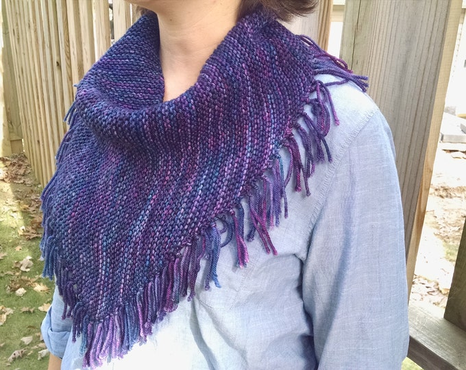 Fringed Bandana Cowl - PDF knitting pattern
