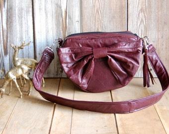SALE Burgundy leather Bow Bag