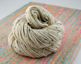 "Bits and Bobs Tweed ""NAKED"" or undyed- 438 yards 100 grams- Superwash Merino wool and Nylon sock yarn"