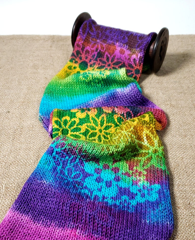 Double Knit Sock Blanks Hand dyed Sock blank Technicolor image 0