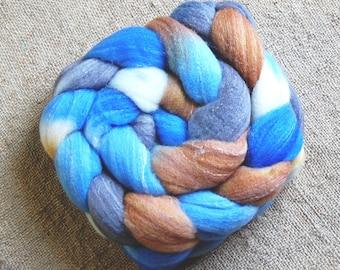 Roving (Top) braid of spinning fiber - Targhee 80 silk 10 Bamboo 10 blend **  colorway Mrs. Bluebird