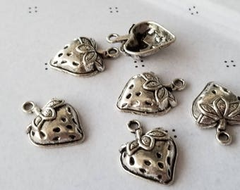 Antiqued silver Stawberry Charms (5)