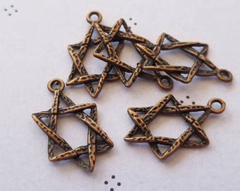Antiqued copper star charms (5)
