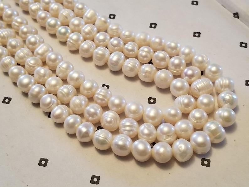White Freshwater pearls potato shaped 9-11x10mm full strand 14 inch