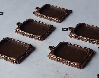 5 Antiqued Copper frame Blank Charms for pictures