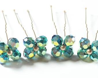 Emerald Green Hairpin Set, Set of 4 crystal hairpins, kelly green, apple green, clover, fern, moss, pine green, bridesmaids hair jewelry