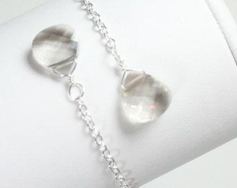 Silver Teardrop Bridesmaids Earrings, Gray, Grey, Long Teardrop Earrings, Silver Weddings, Bridal, Silver Bridesmaids Jewelry, Gray Wedding