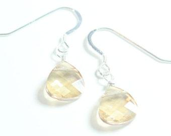 Champagne Bridesmaids Teardrop Earrings, Wedding Jewelry, Wedding Earrings, Bridal Earrings, Champagne Weddings, Golden Brown Earrings