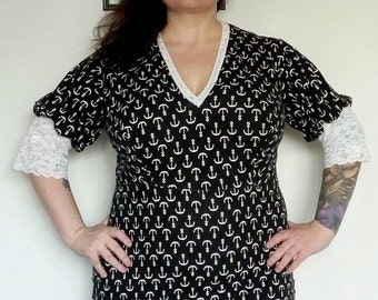 Black and White - Anchor Top - Tunic Top - Plus Size Top - Rockabilly Clothing - Punk Clothing - Plus Size Fashion - XXL 3X 4X