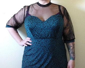 Teal and Black - Vintage Inspired - Leopard Print Top - Retro - Plus Size - Rockabilly Clothing - Psychobilly Clothing - Punk Clothing