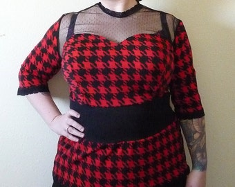 Black and Red - Houndstooth Print - Plus Size Top - Rockabilly Clothing - Psychobilly Clothing - Punk Clothing